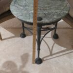 round accent table green natural stone top bronze approx dia metal rustic gray coffee home goods floor lamps tiffany style lamp shades patio furniture toronto clearance hobby 150x150