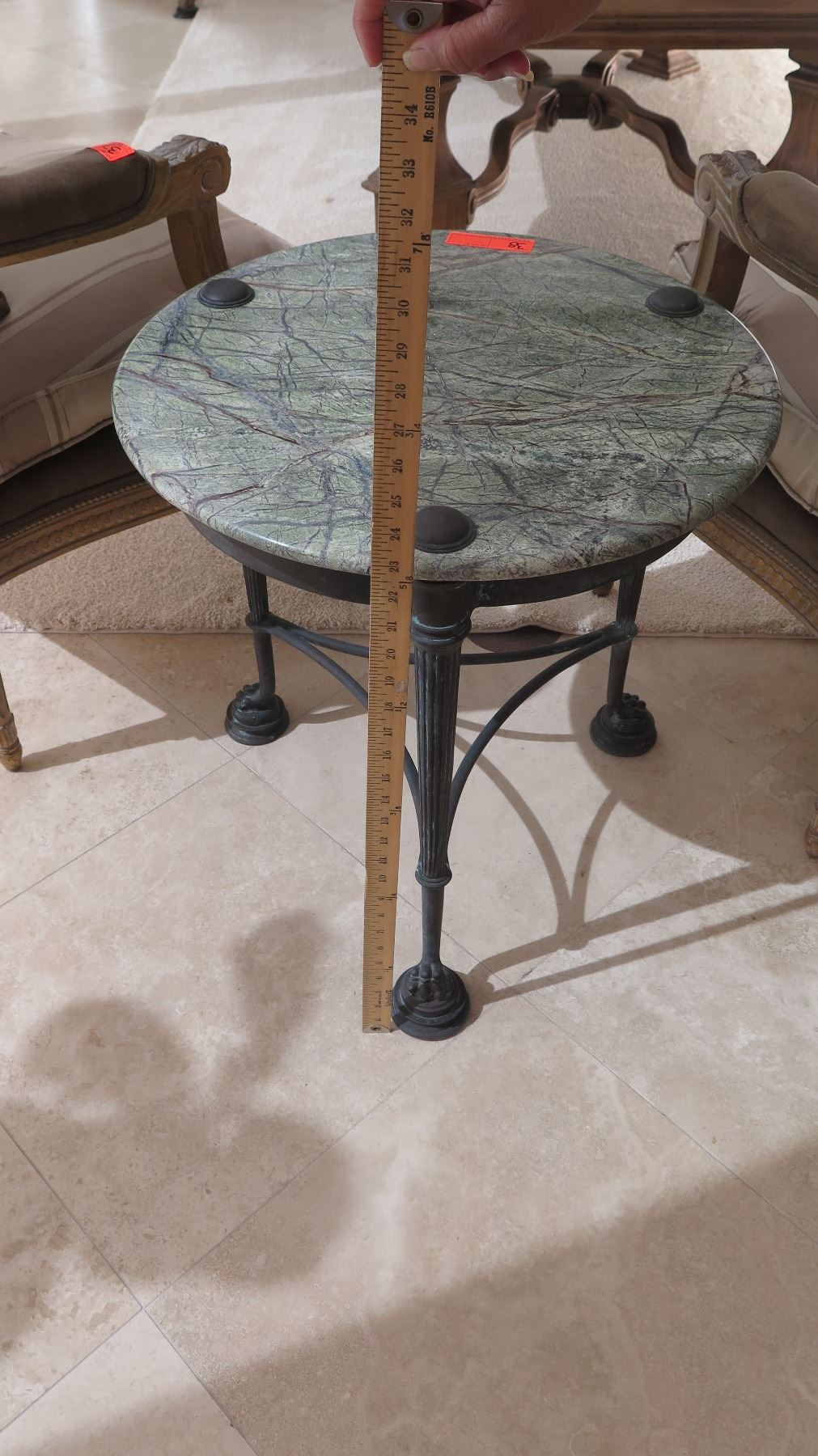 round accent table green natural stone top bronze approx dia metal rustic gray coffee home goods floor lamps tiffany style lamp shades patio furniture toronto clearance hobby