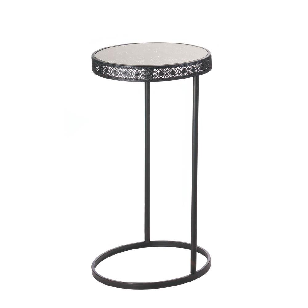 round accent table modern midnight moroccan patio dining end rustic garden for decor unfinished small solid pine bedroom furniture pedestal legs cast aluminum tables hand painted