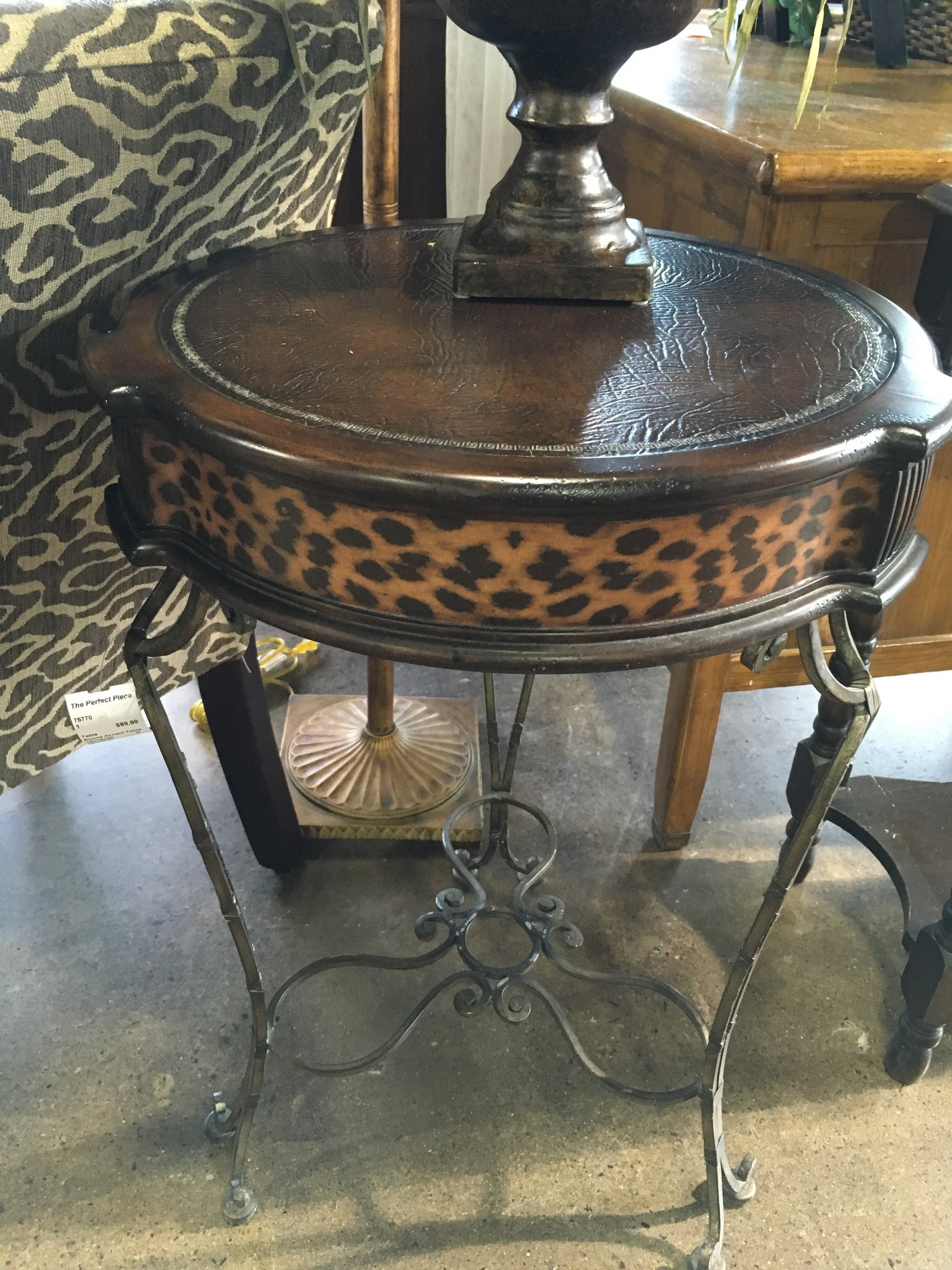 round accent table the perfect piece home furnishings antique you need that will spark conversation make someone smile large garden umbrellas wine cupboard decorative tablecloths