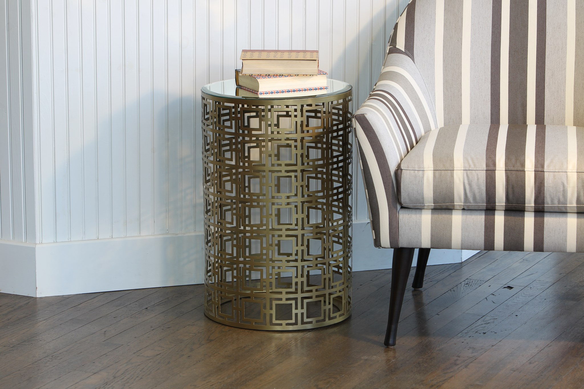 round accent table with pierced geometric pattern antique brass finish boulevard urban living pier vases brown linen tablecloth furniture tables clear crystal lamp coffee storage