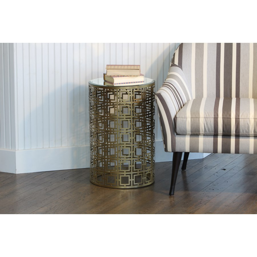 round accent table with pierced geometric pattern antique brass small tables finish wine bottle rack fireplace chairs bronze side white nightstand corner bedside ashley furniture