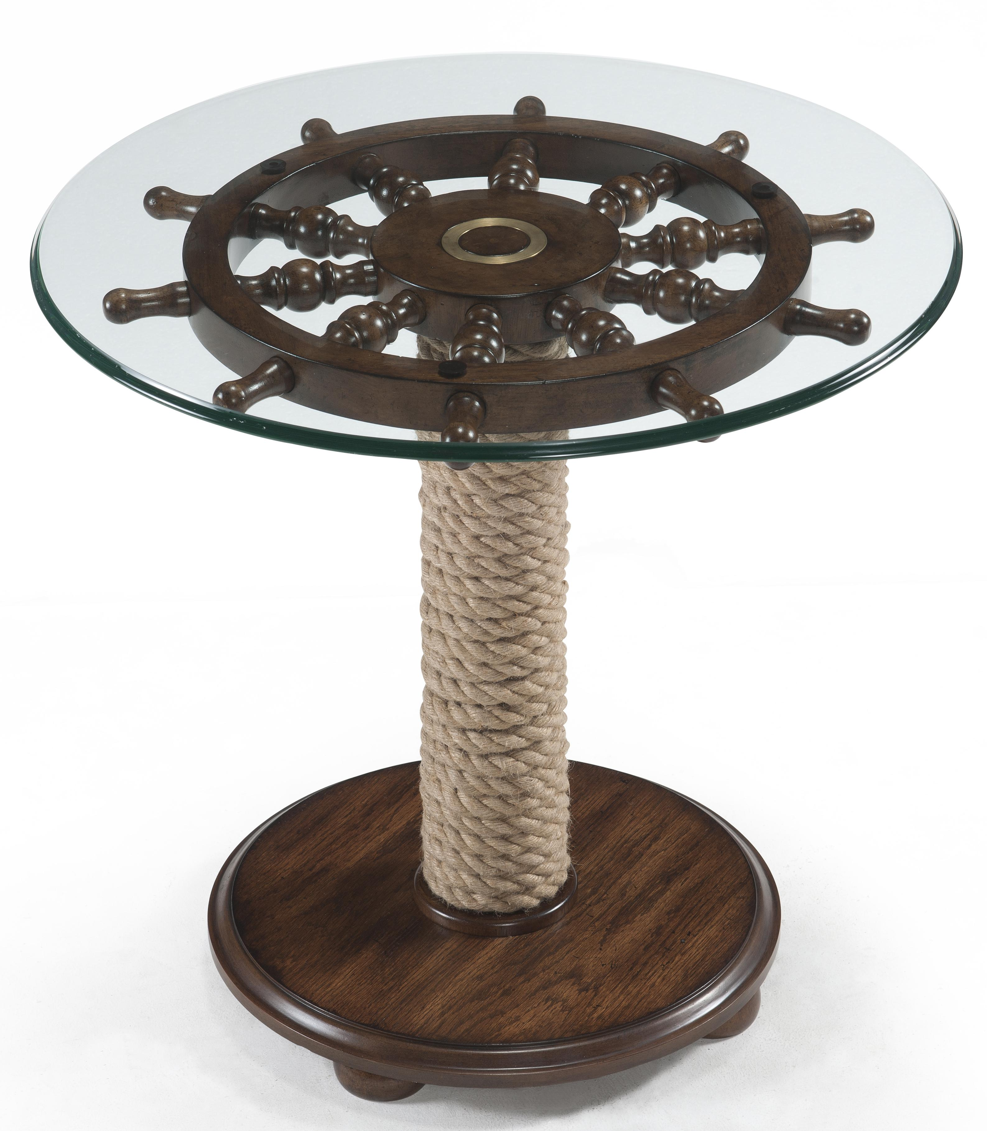 round accent table with tempered glass top ship wheel and wound products magnussen home color beaufort rope pedestal wolf gardiner furniture wicker set white end storage modern
