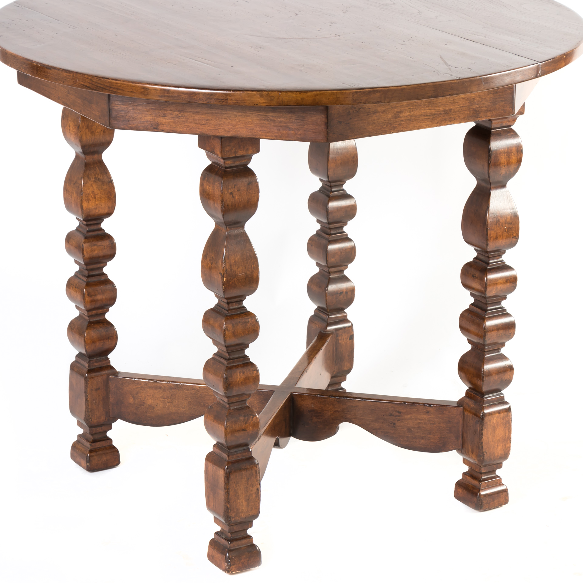 round accent table with thick carved pillar legs stretcher wood yes slim wine rack outdoor sofa nightstand charging station coastal bathroom accessories antique looking end tables