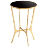 round black glass top gold finished iron accent table cyan floyd balcony and chairs desk furniture small metal patio side tables for spaces threshold end decorative tablecloth set 150x150