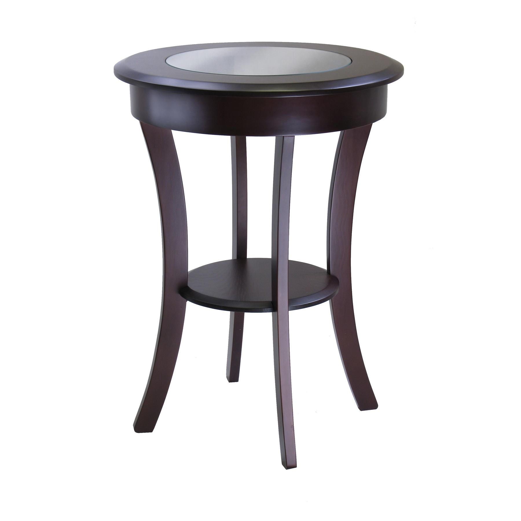round black kitchen table decor rustic accent cottage winsome wood cassie with glass white and silver end tables battery powered lamps small corner living room gold knobs outdoor