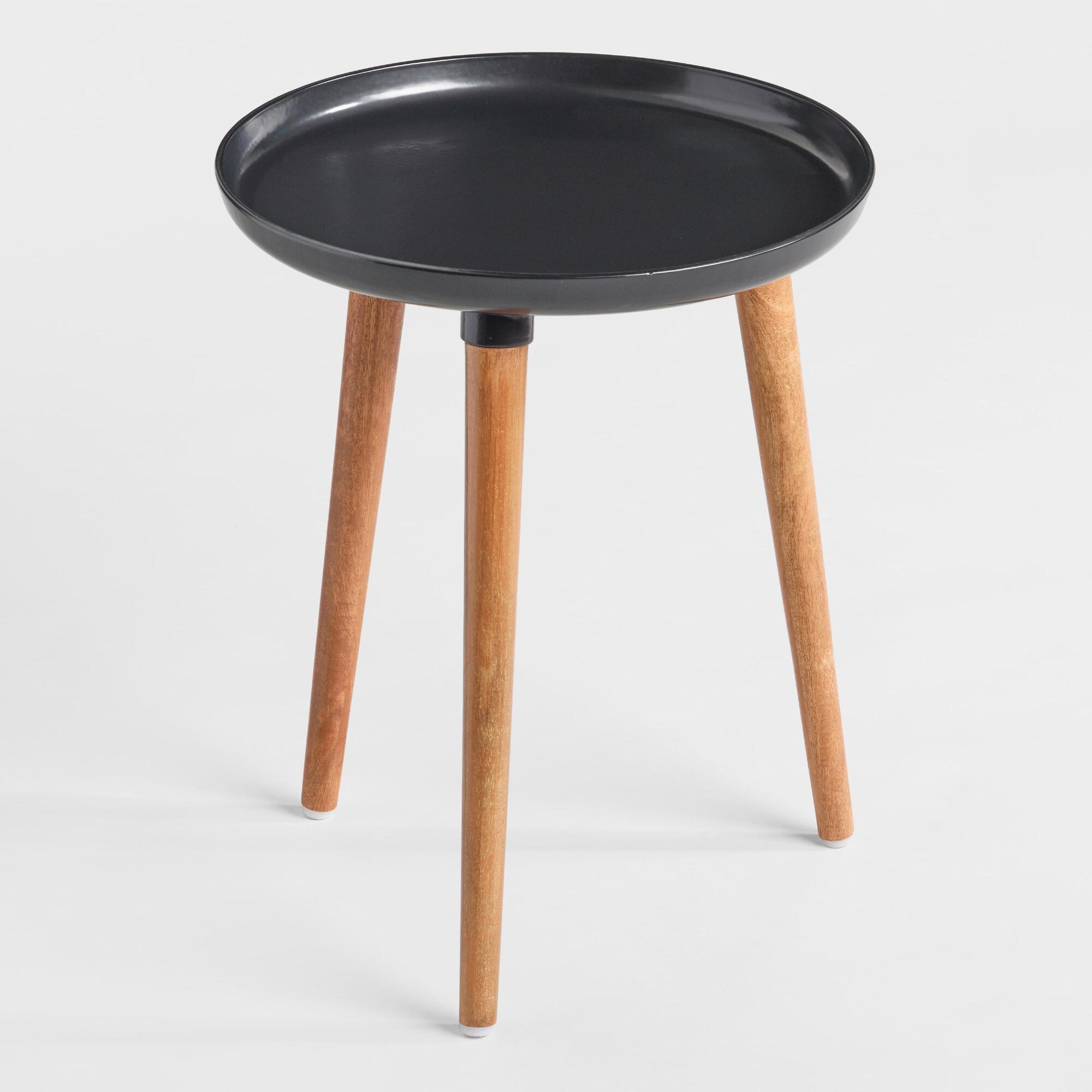 round black metal and wood ennis accent table world market bistro umbrella decorative chairs outdoor storage cupboard coffee tables marble granite reading lamp glass with gold