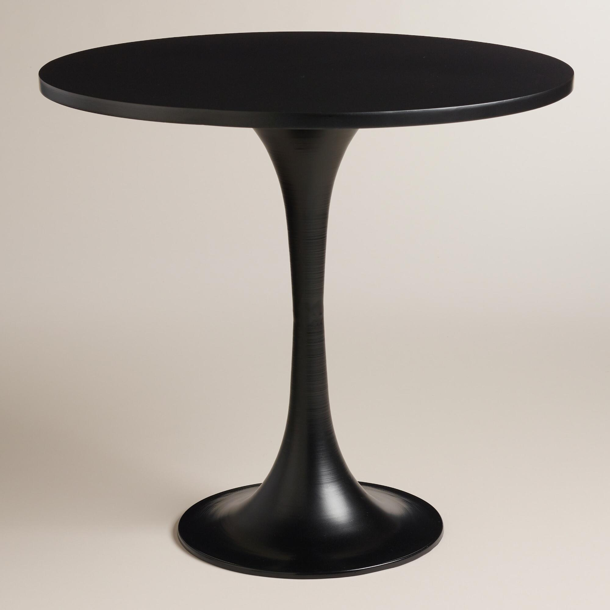 round black saarinen style tulip accent table plus world market marble gold coffee rustic kitchen trolley kmart wood dining nest country decorating ideas square end nickel lamp