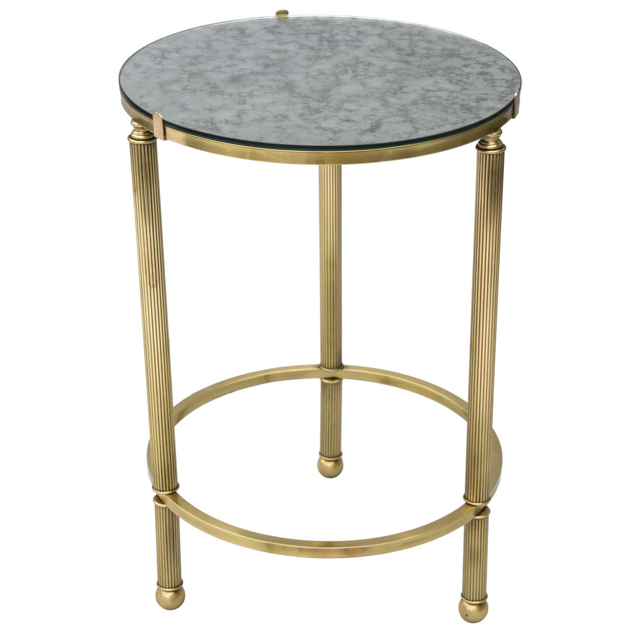round brass accent table with mirrored top inch high stacking tables ikea target red exterior door threshold ashley furniture dining set cover patio chair white coffee glass wine