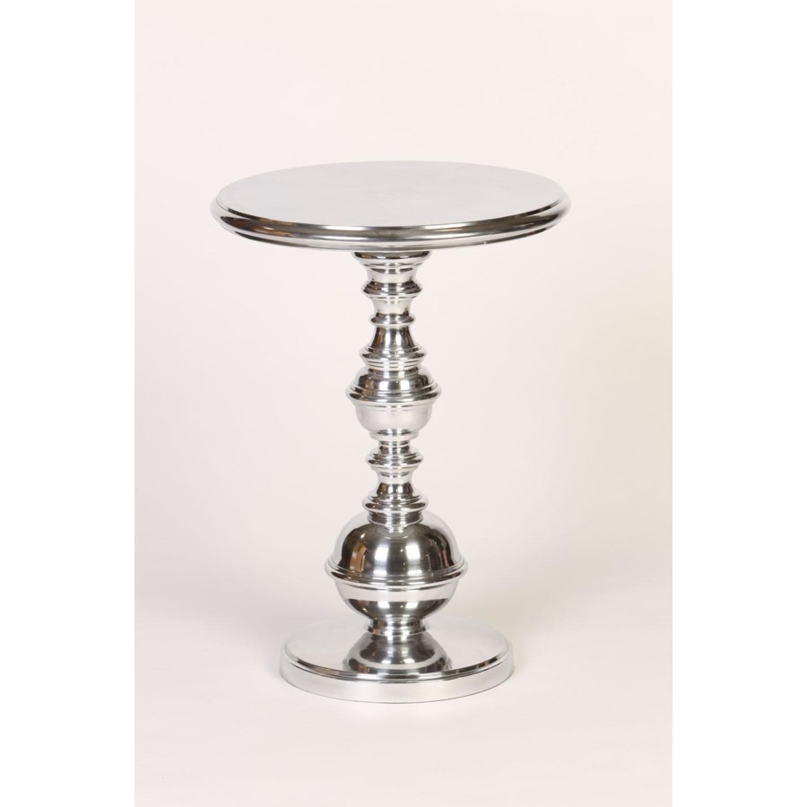 round cast aluminum table with turned base polished nickel finish accent clothes organiser monarch hall console dark taupe threshold windham one door storage cabinet target white