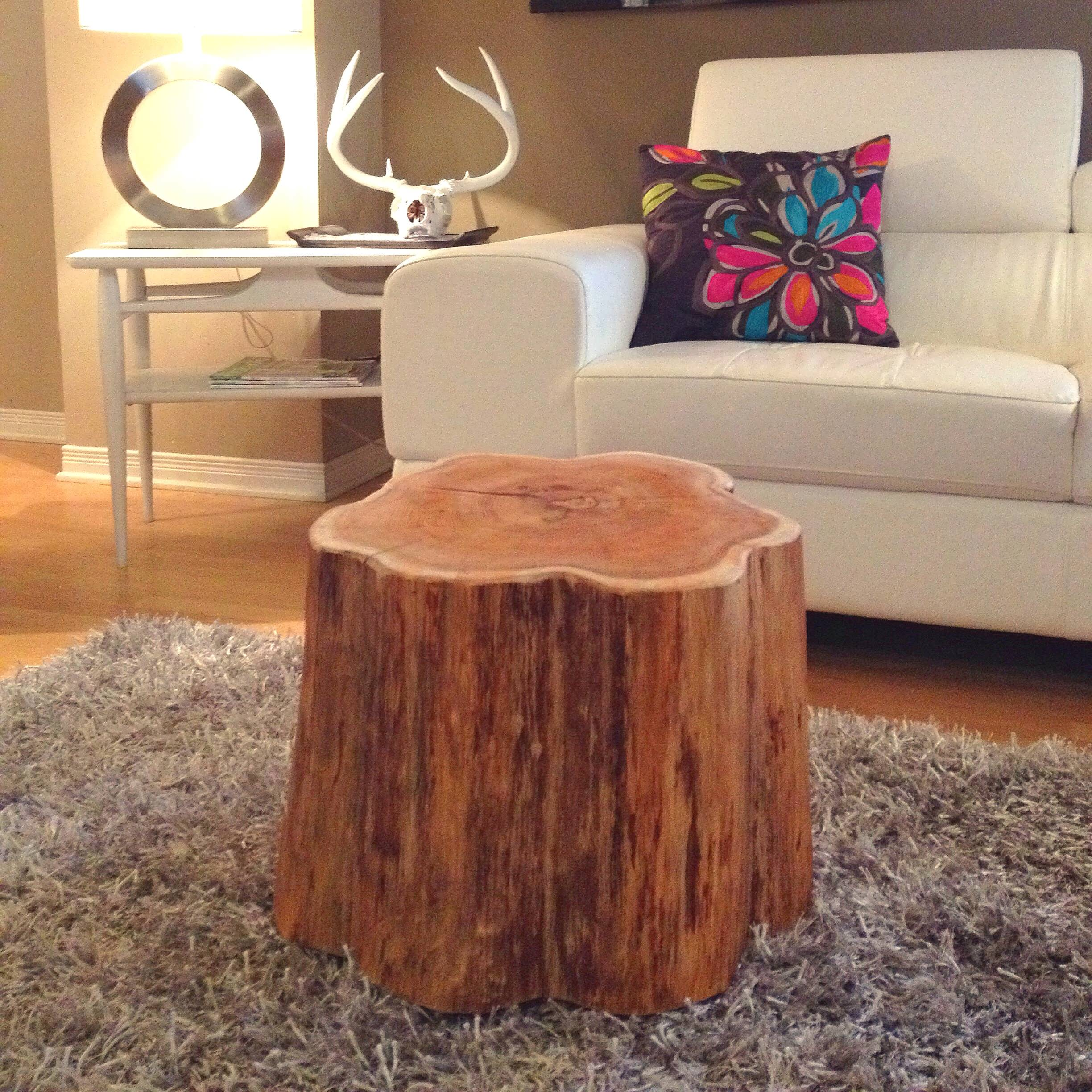 round coffee table tree stump wood trunk bedside root console end side bark unique accent tables living room and with drawers little sets solid square base modern log dark grey