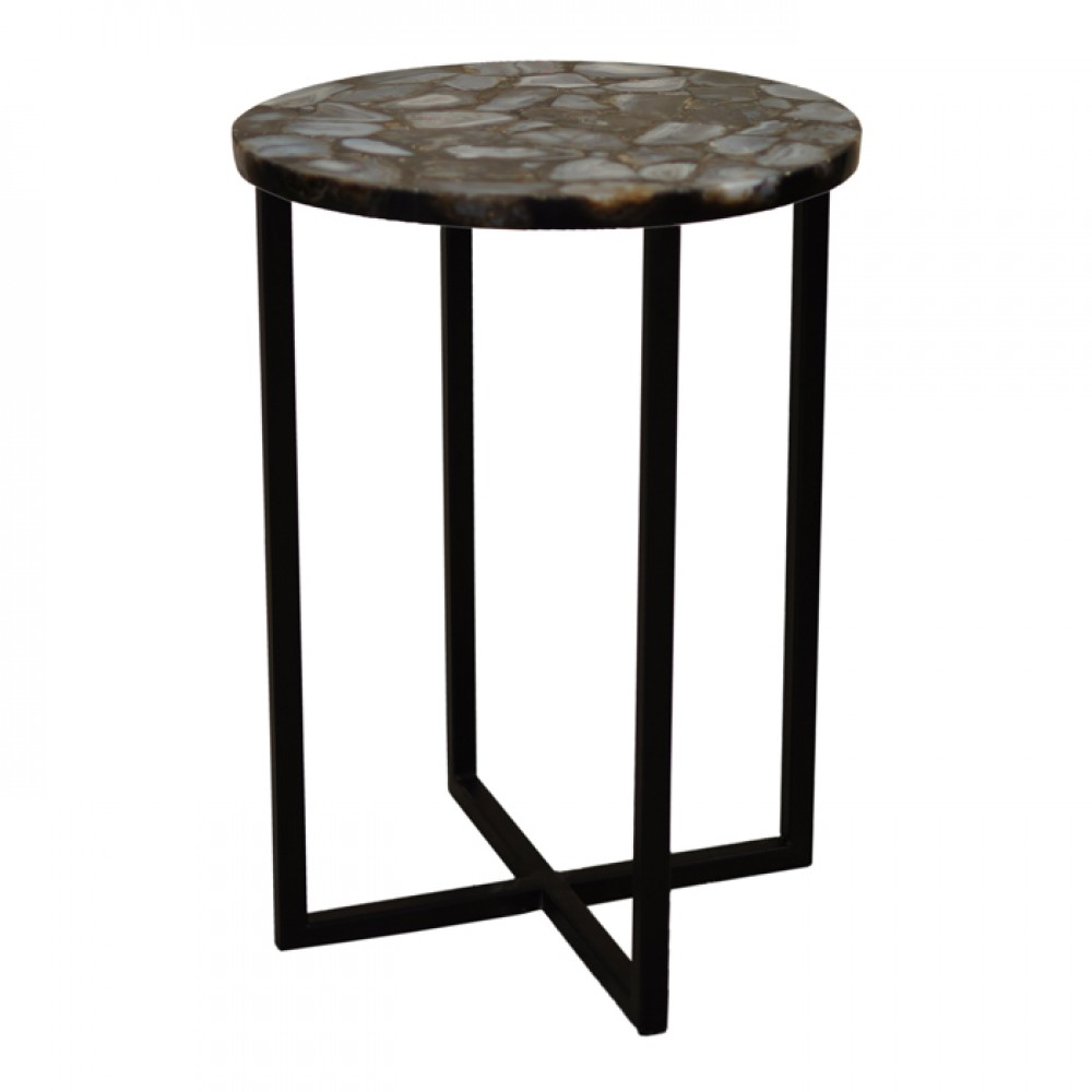 round coffee table with genuine gray agate top accent wood iron legs for gallerie coupon kitchen decor items leick corner computer desk black and grey marble set wine rack cute