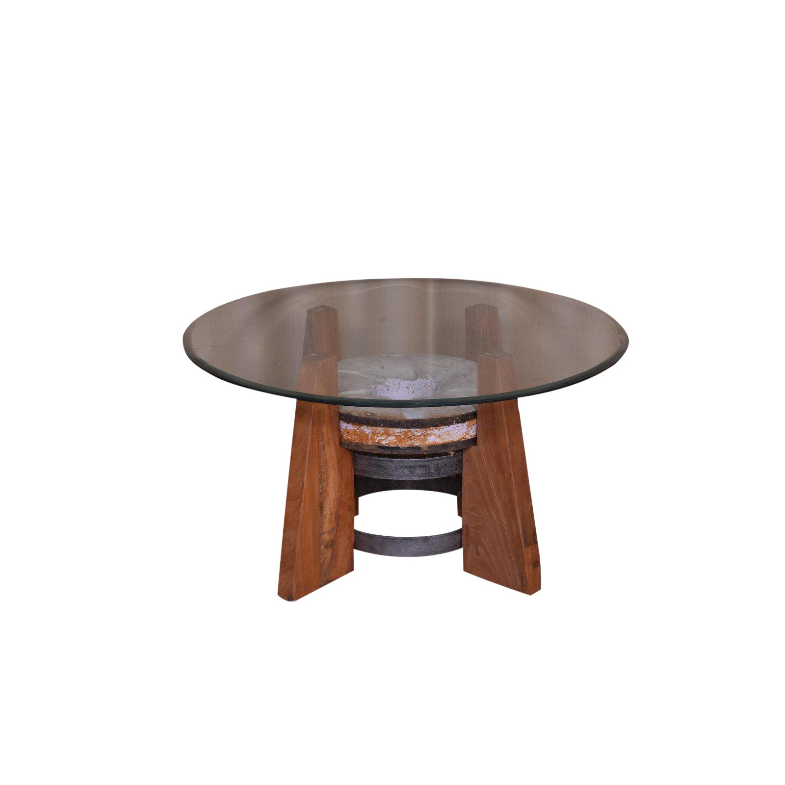 round coffee table with glass top living room wood and wooden accent rustic natural chairish small chairside white end storage buffet lamps square target garden furniture pier one