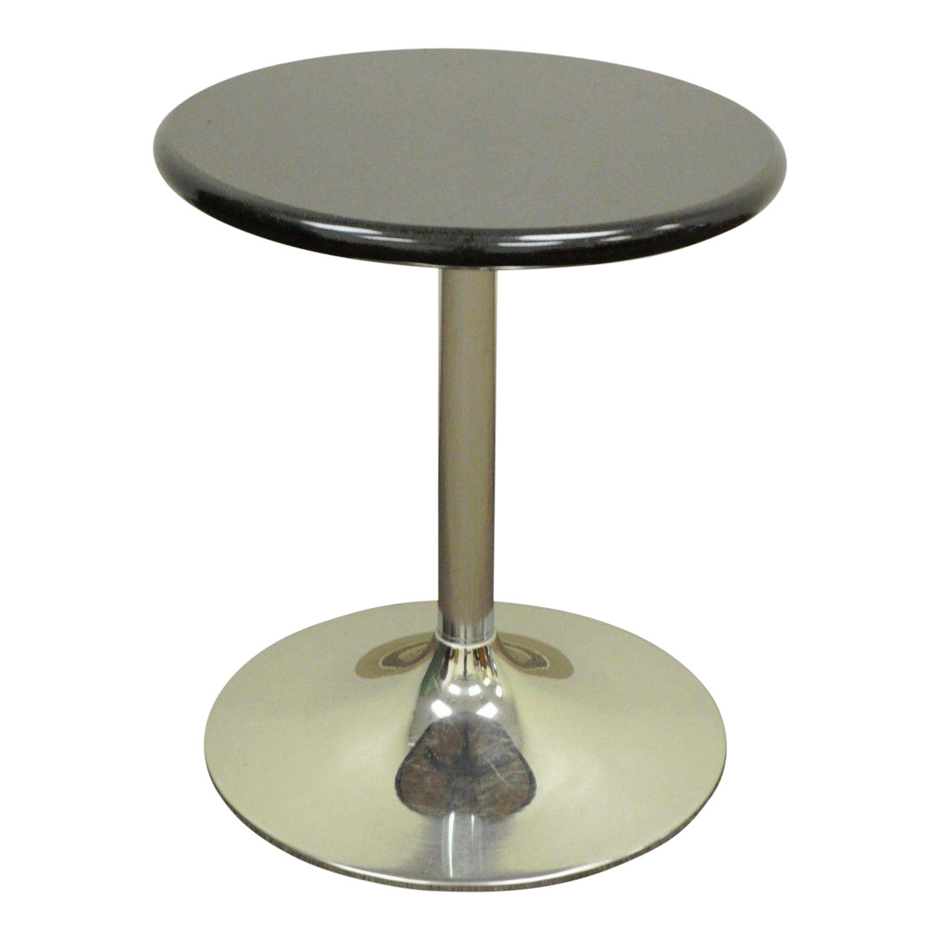 round contemporary modern black granite chrome tulip base accent side table chairish outside bar furniture gray venetian bedside tables oak coffee and end small ideas dark wood
