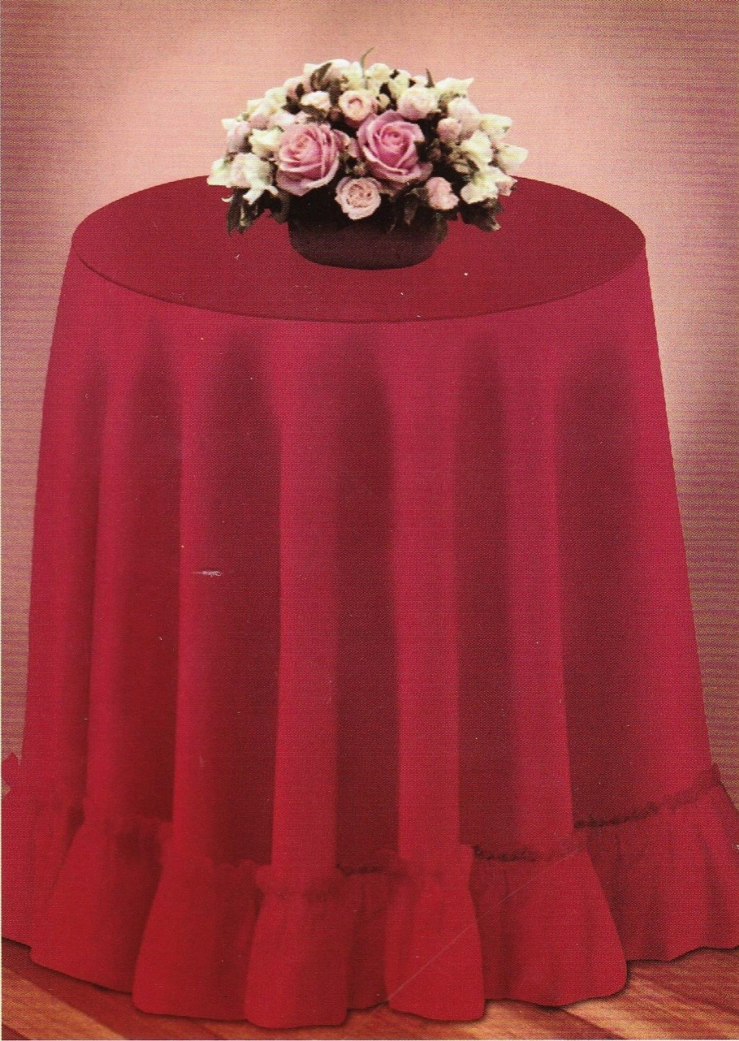 round decorator tablecloth fashion solid color accent selection woven table linen ruffled edge burgundy red home kitchen small porch outdoor teak side west elm coffee interior