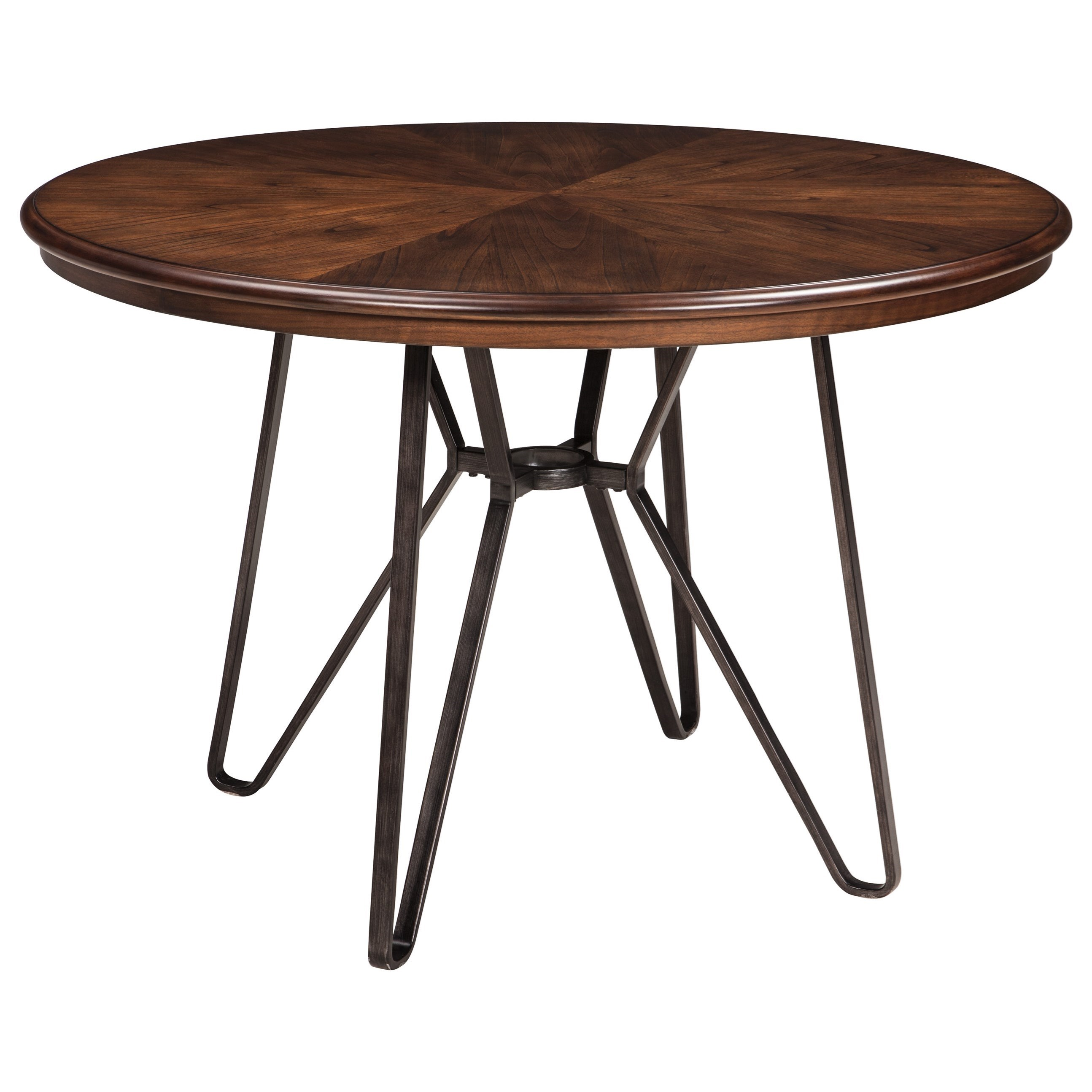 round dining room table with metal hairpin legs signature design products ashley color centiar leg accent industrial look end tables storage rustic looking target entryway
