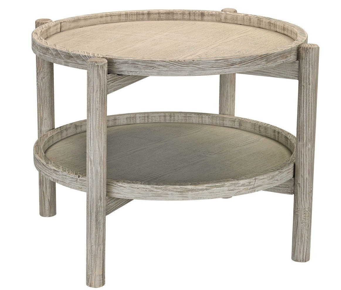 round driftwood finish accent table small tiffany style lamp diy cocktail tall patio chairs inch tablecloth nate berkus gold three piece set acrylic waterfall console threshold