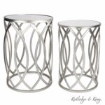 round end table set silver tables with mirrored gray accent tops nesting and metal side rutledge king blufton wrought iron rectangle drawer pier one imports patio furniture red 150x150