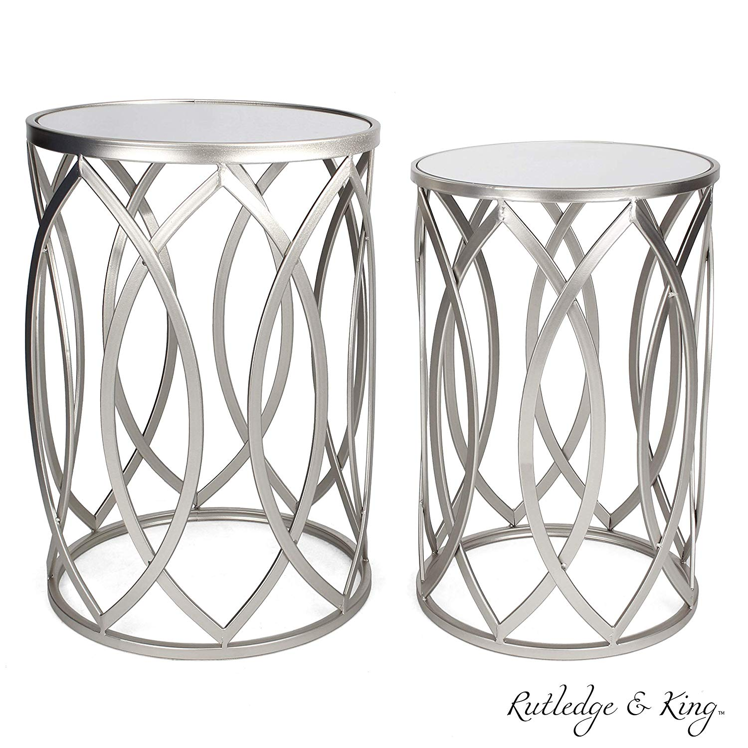 round end table set silver tables with mirrored gray accent tops nesting and metal side rutledge king blufton wrought iron rectangle drawer pier one imports patio furniture red