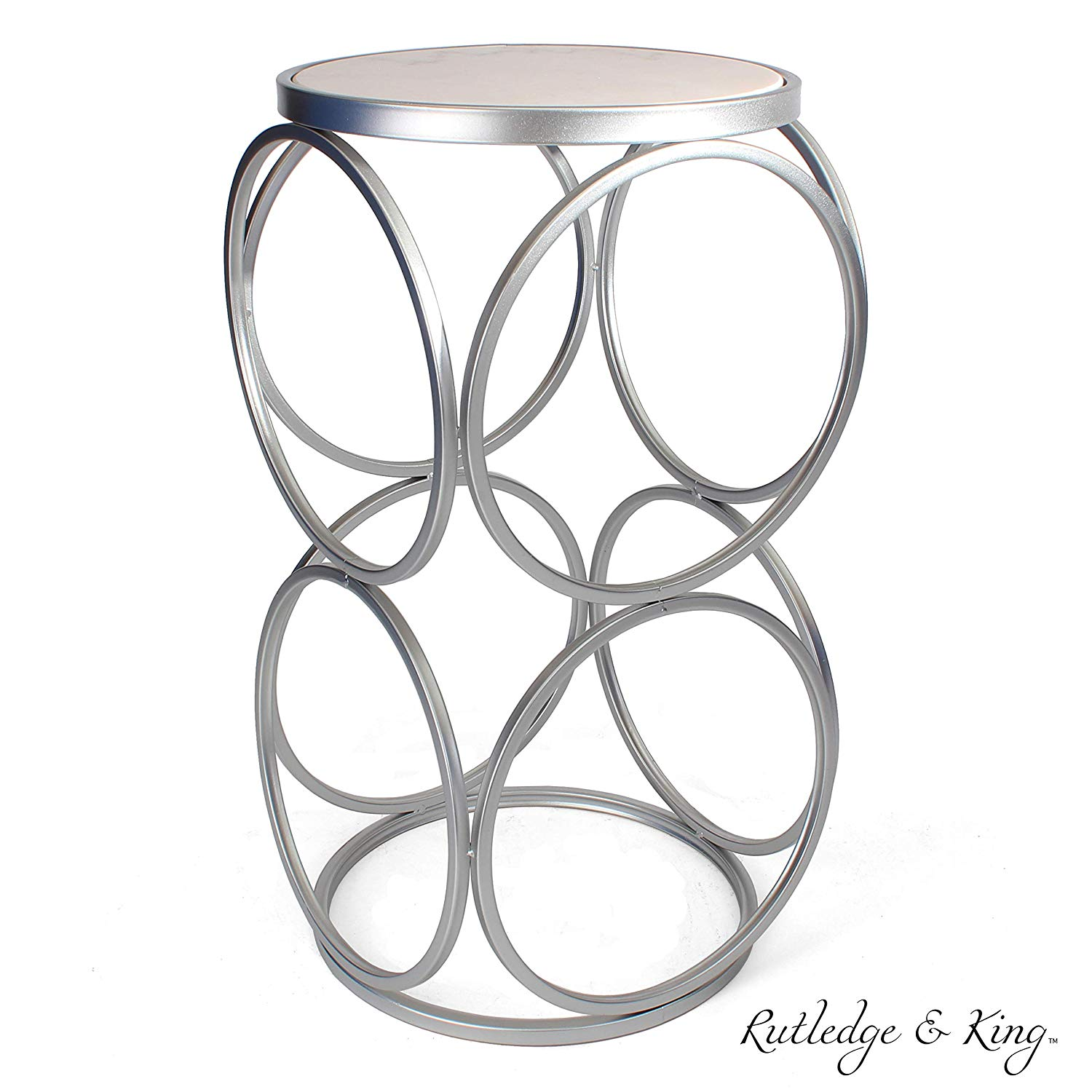 round end table silver with marble top accent and metal side rutledge king britton inch foyer perspex coffee bar height storage skinny behind couch occasional chairs black glass