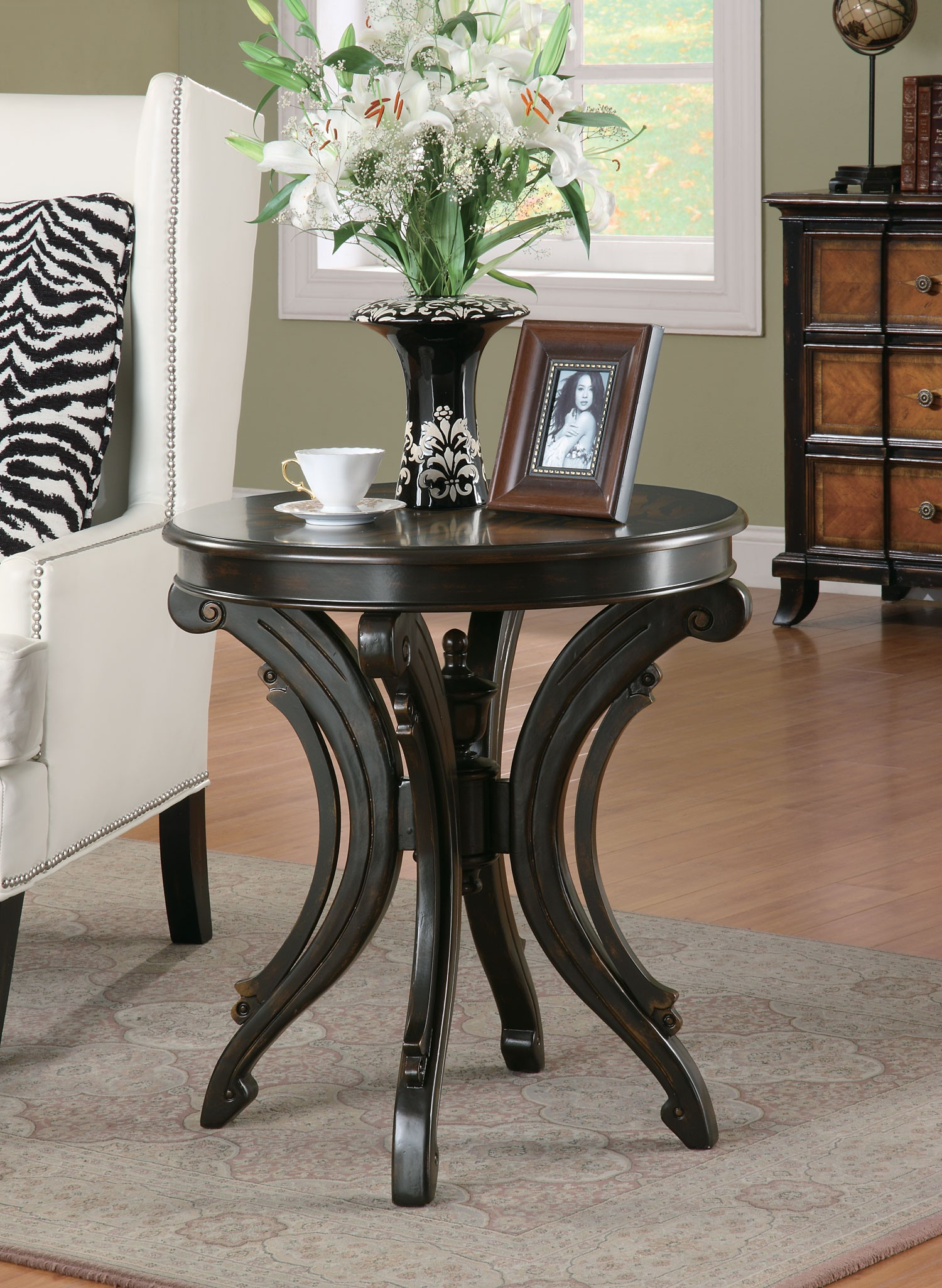 round end table with animal print alexander kat furniture painted wood accent top scrolled base rustic modern coffee marble inch decorator pottery lamps piece glass set white and