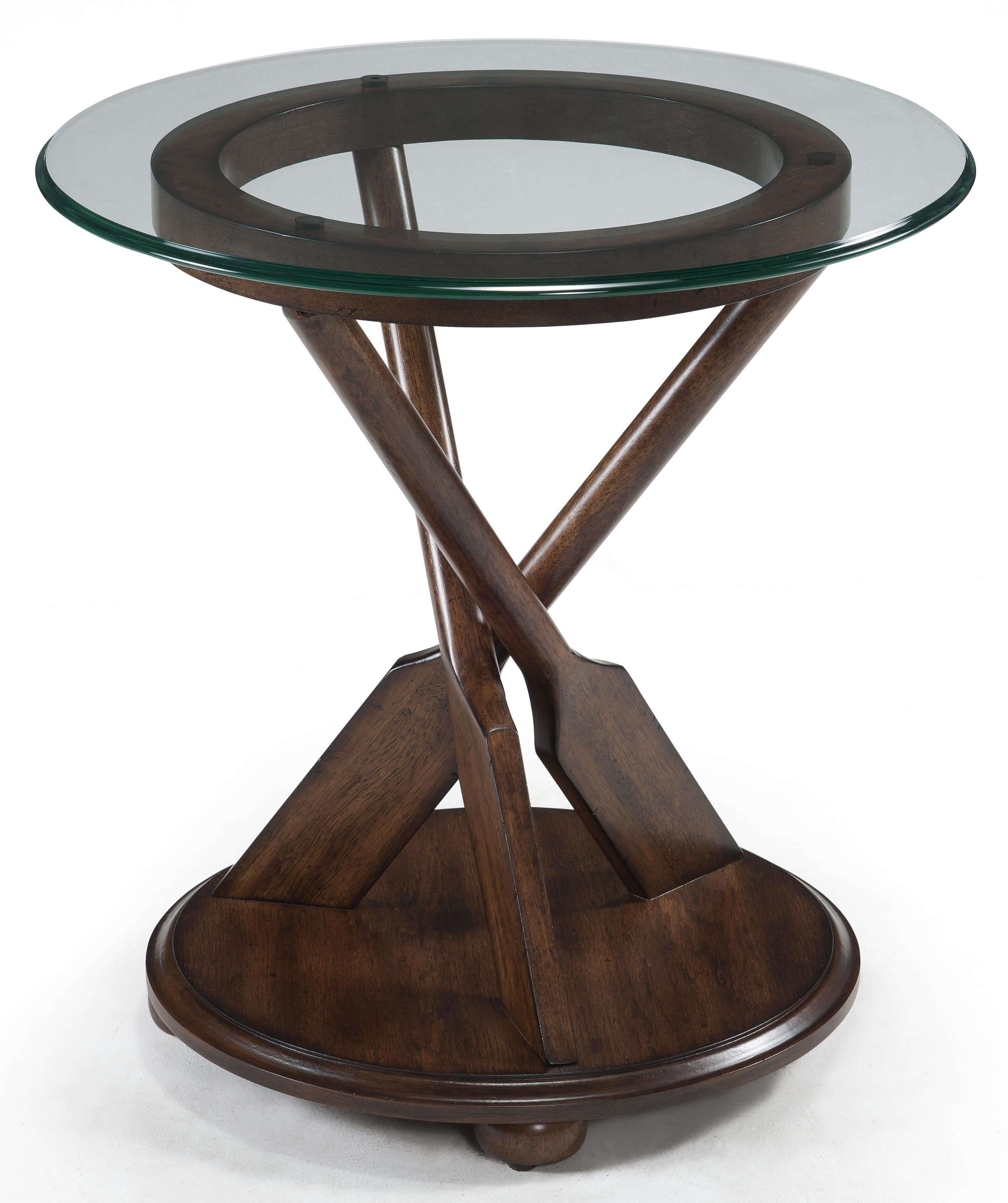 round end table with three oar pedestal and tempered glass top products magnussen home color beaufort wood accent wolf gardiner furniture gold tablecloth rustic side mosaic patio