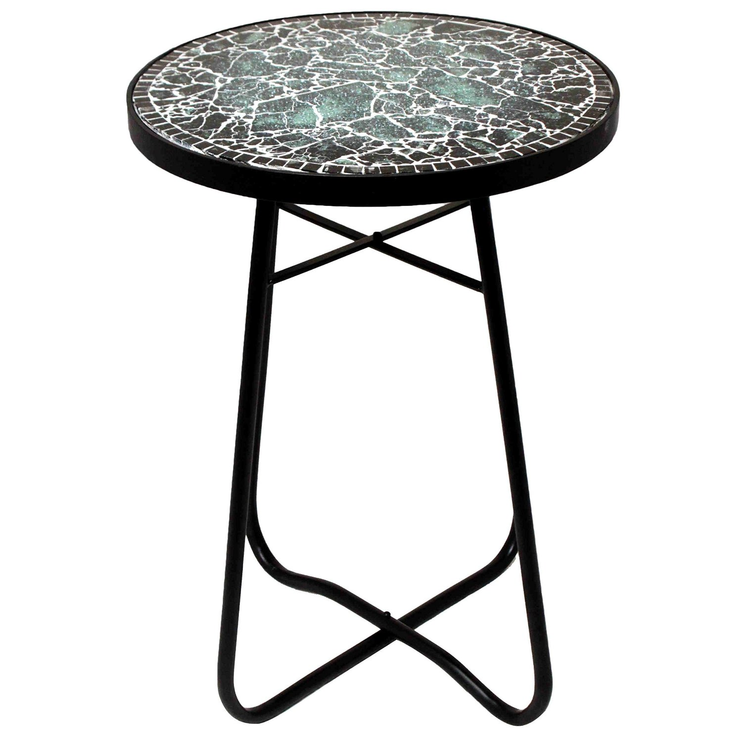 round glass accent table find bella green mosaic outdoor get quotations side traditional style metal construction blue garden chair set inch furniture legs circular patio covers