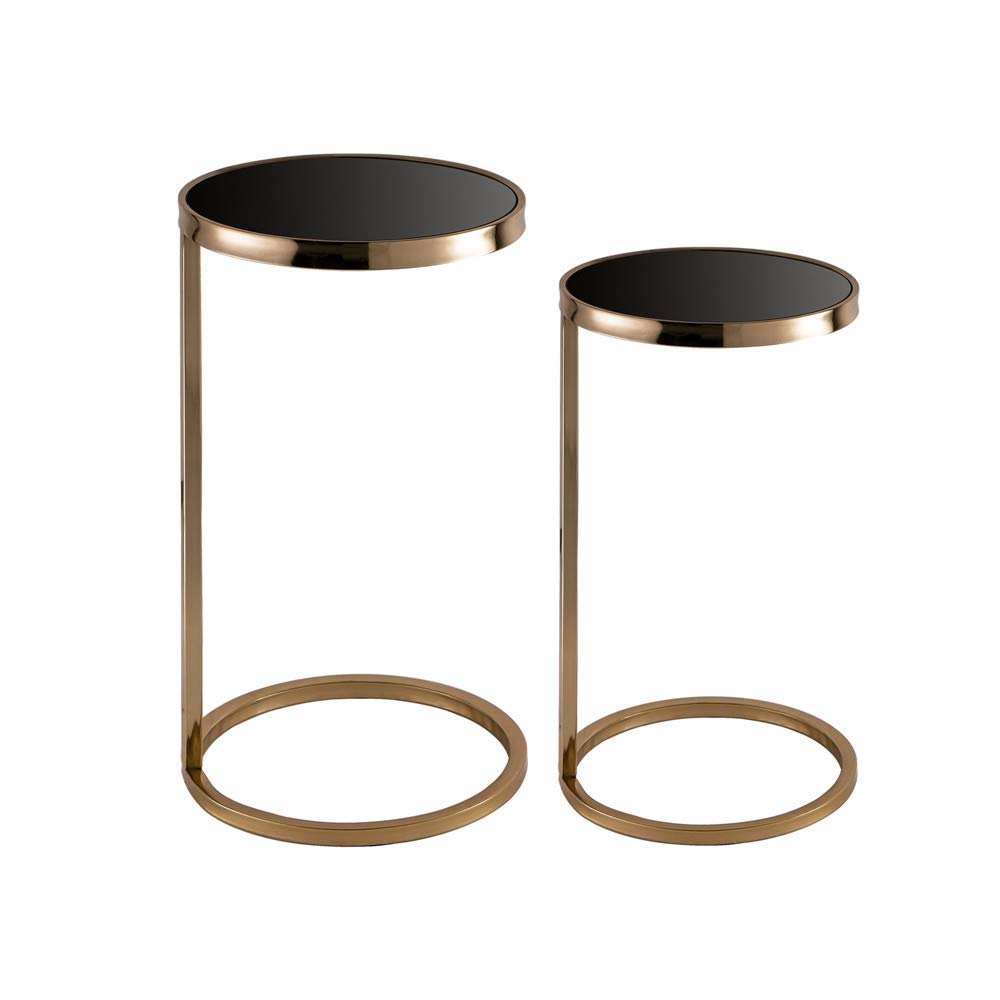 round glass accent table find gold get quotations glitzhome deluxe metal mirrored with black top set outdoor wicker dining finish coffee grey nightstand target wood side oval