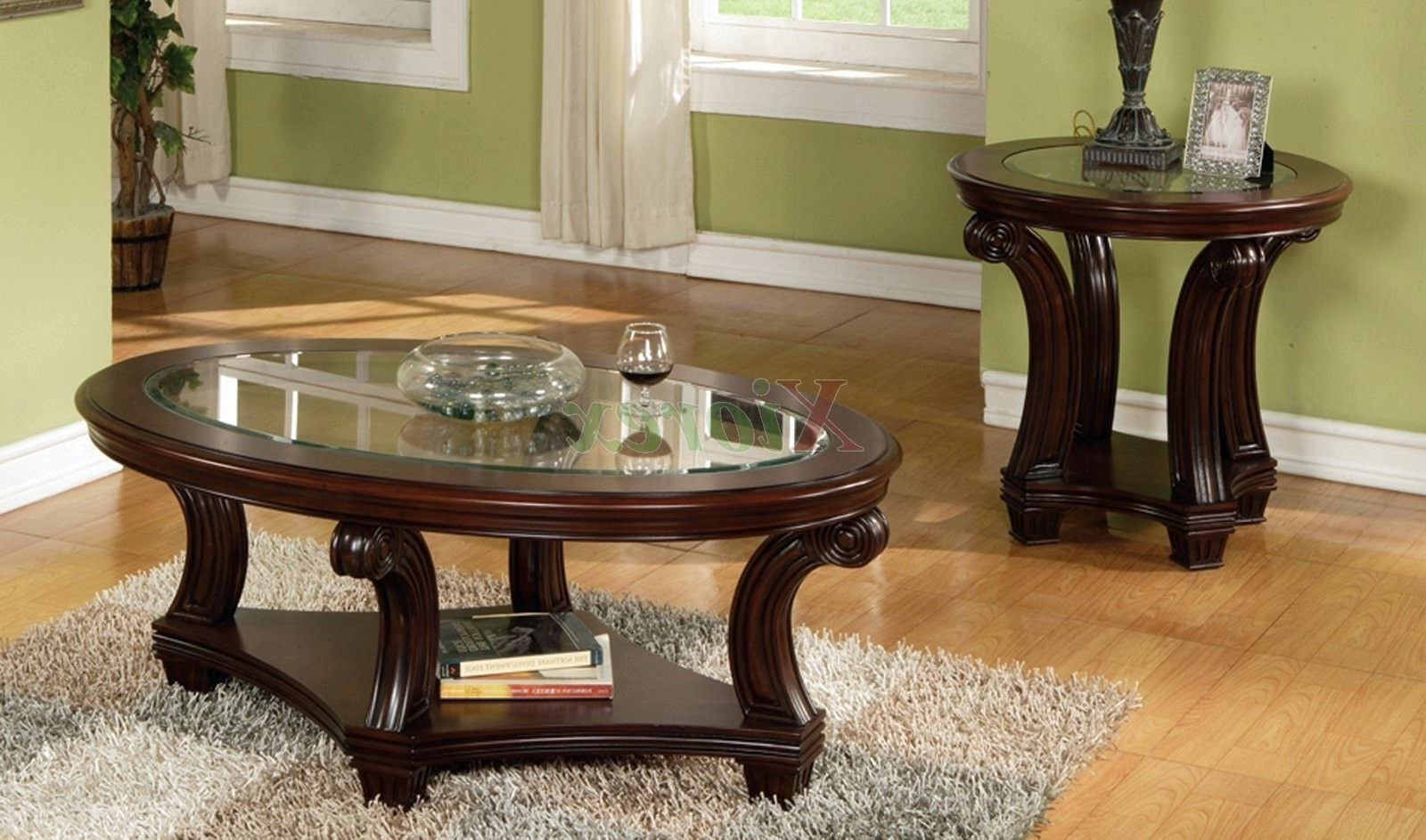 round glass coffee tables modern furniture america carnes dark cherry piece accent table set long cabinet rustic wood and metal mosaic patio rod iron end chairs target corner