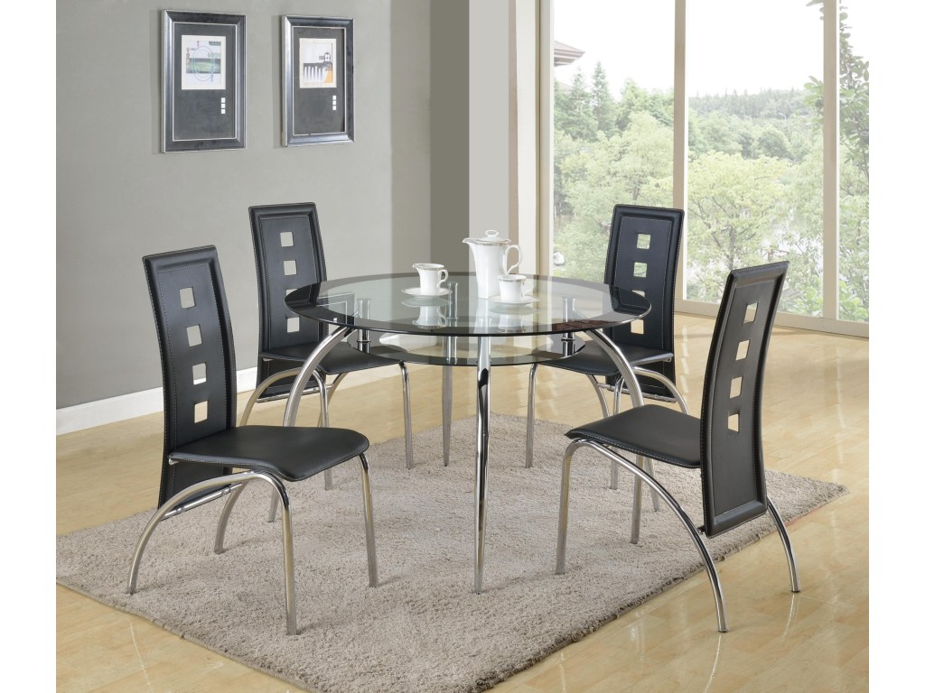 round glass dining table with suspended platform under top products crown mark color mila leg square accent milaround barn door room umbrella and base ethan allen windsor chairs