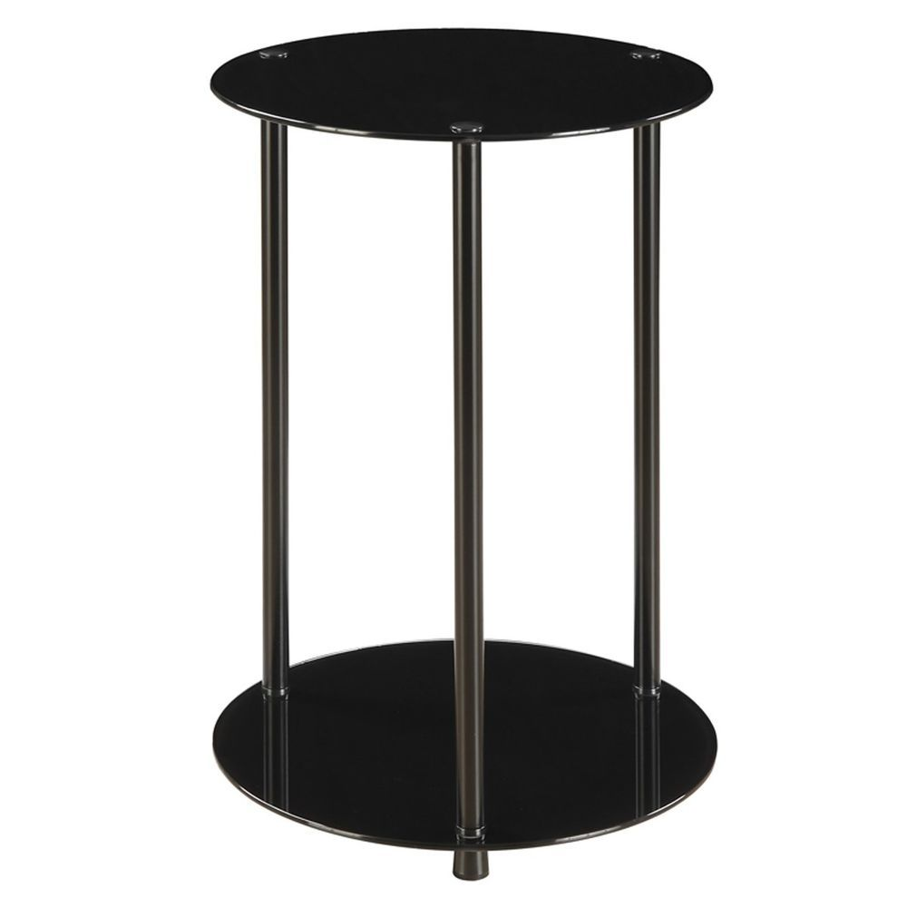 round glass end table lamp stand black shelf modern living accent furniture marble dining set room tables pottery barn white dishes patio chair seat covers west elm side high