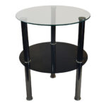round glass tier side table accent stand black hallway console inch nightstand winsome timmy small occasional tables wood iron coffee steel and end gray white chairs narrow home 150x150