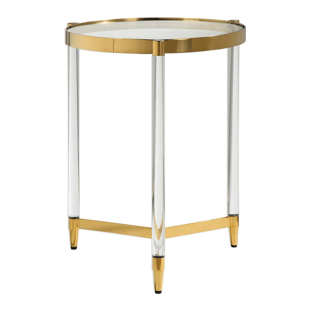 round gold accent table with acrylic legs upholstered dining room chairs wicker shower chair target threshold coffee wood side ashley furniture chicago modern dressing clear trunk