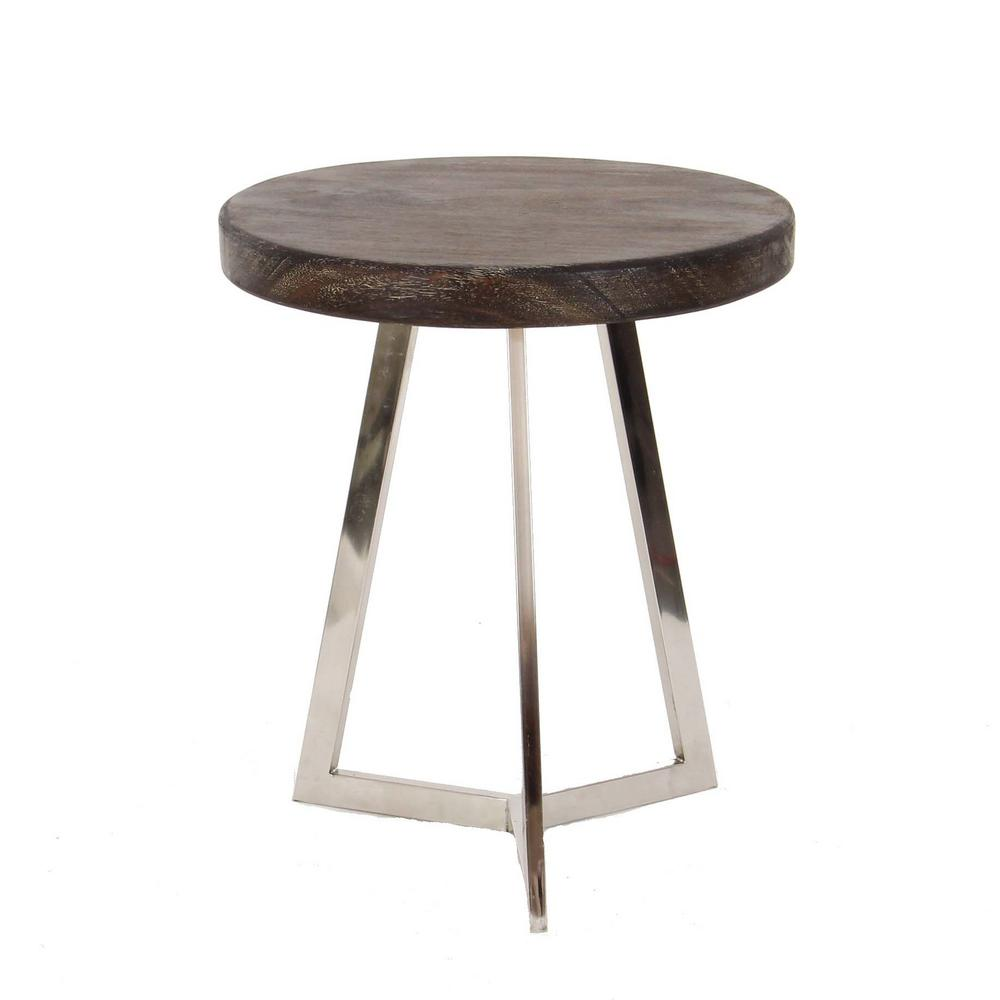 round gray end tables accent the black litton lane modern stainless steel and albizia wood outdoor side table green timber top bunnings tiny lamps target marble coffee bronze