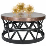 round hammered coffee table drum gold accent quickview bar height dining set mid century modern end tables red room chairs black wrought iron reclaimed barn wood furniture large 150x150