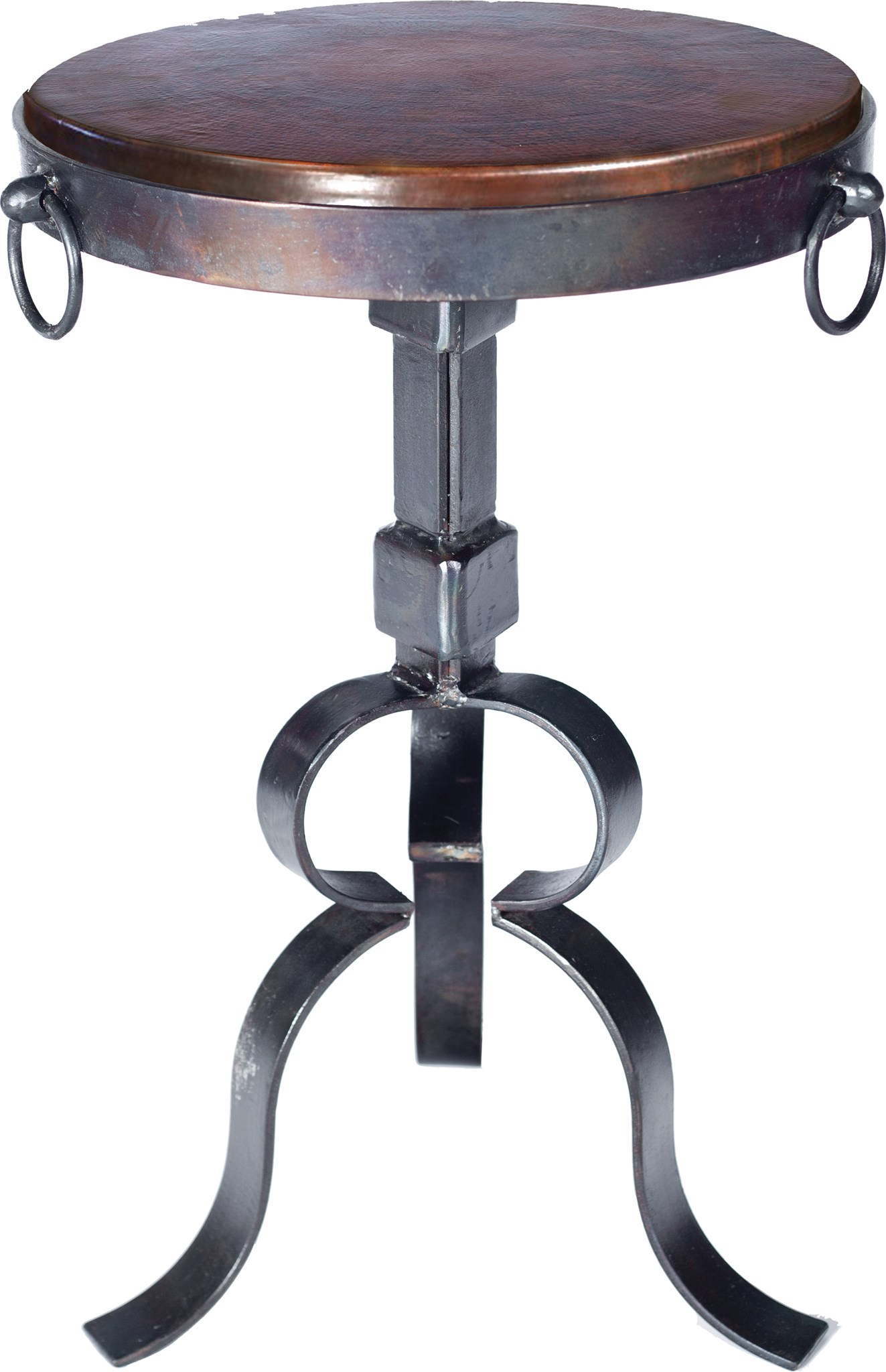 round iron accent table with dark brown hammered copper top boulevard urban living ikea storage furniture coffee decorative accents large amazing tables concrete look nested floor