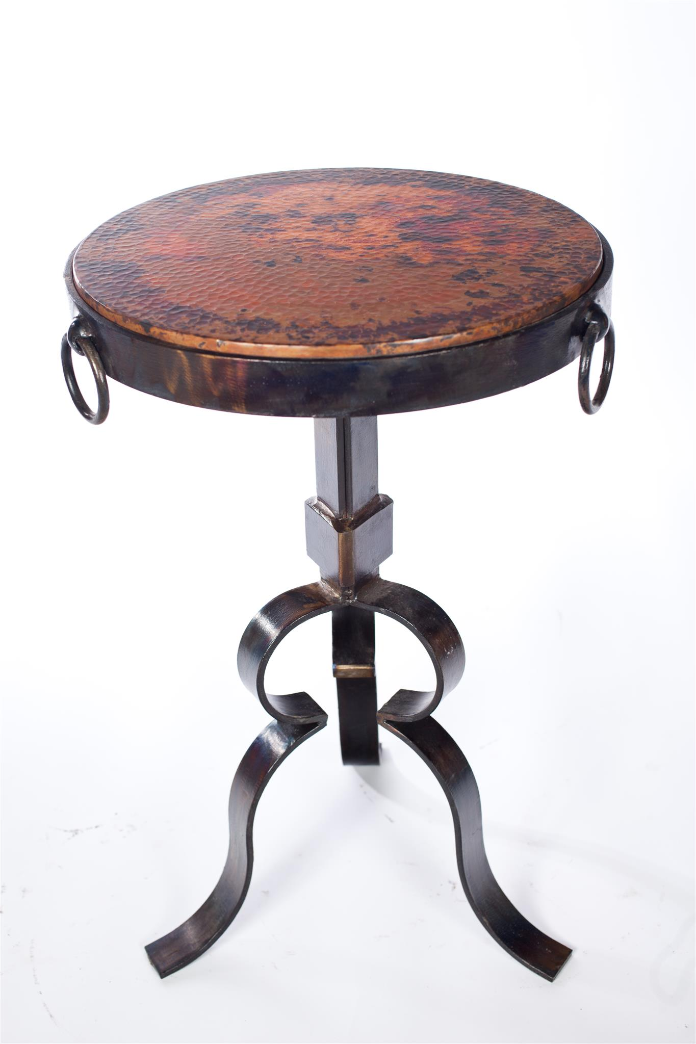 round iron accent table with hammered copper top boulevard urban metal living kitchen room furniture dale tiffany glass lovell target wrought patio expanding teal storage cabinet