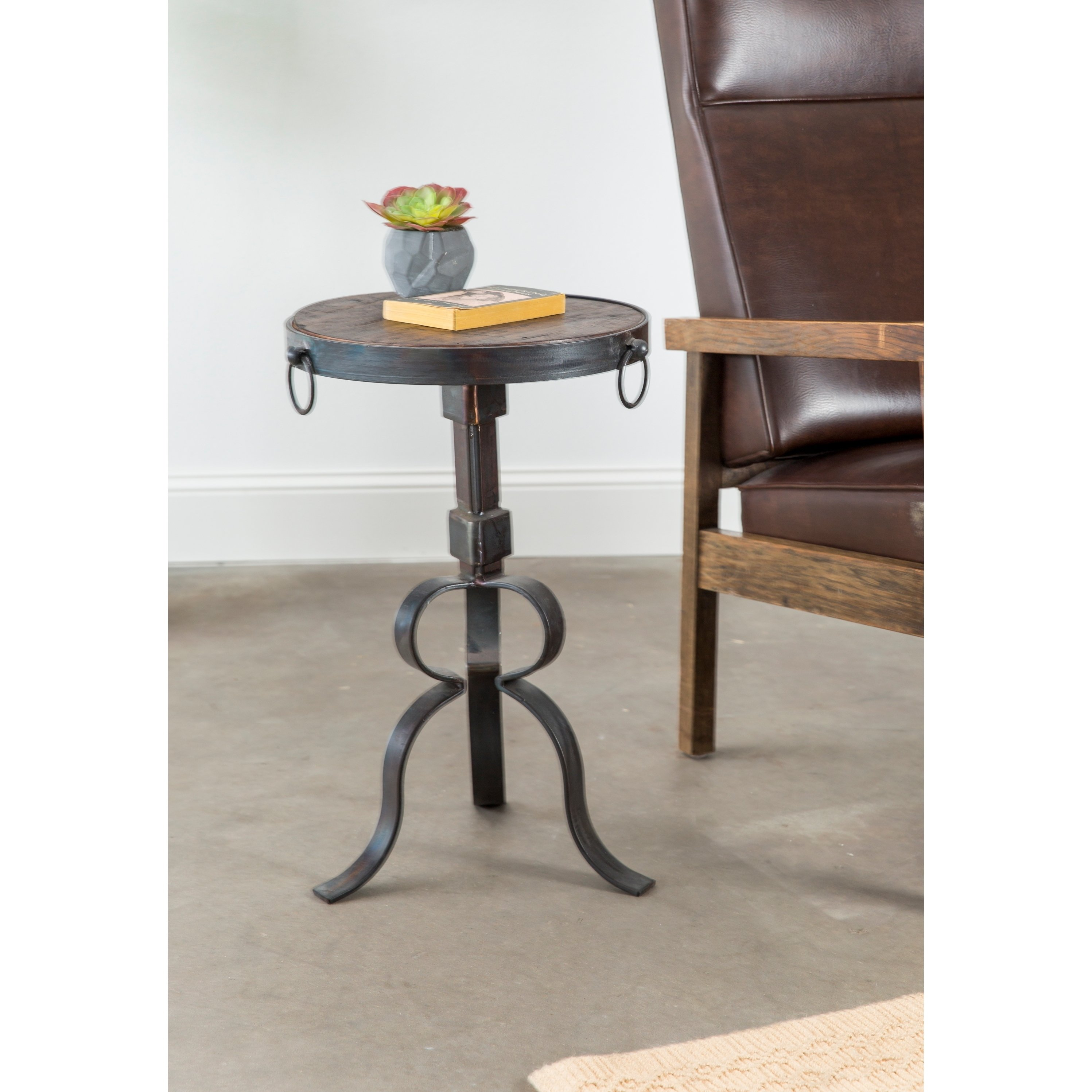 round iron accent table with wood top bath and beyond ice cream maker nesting cocktail set timber trestle legs interior ideas nautical chandelier shades chest black oval coffee