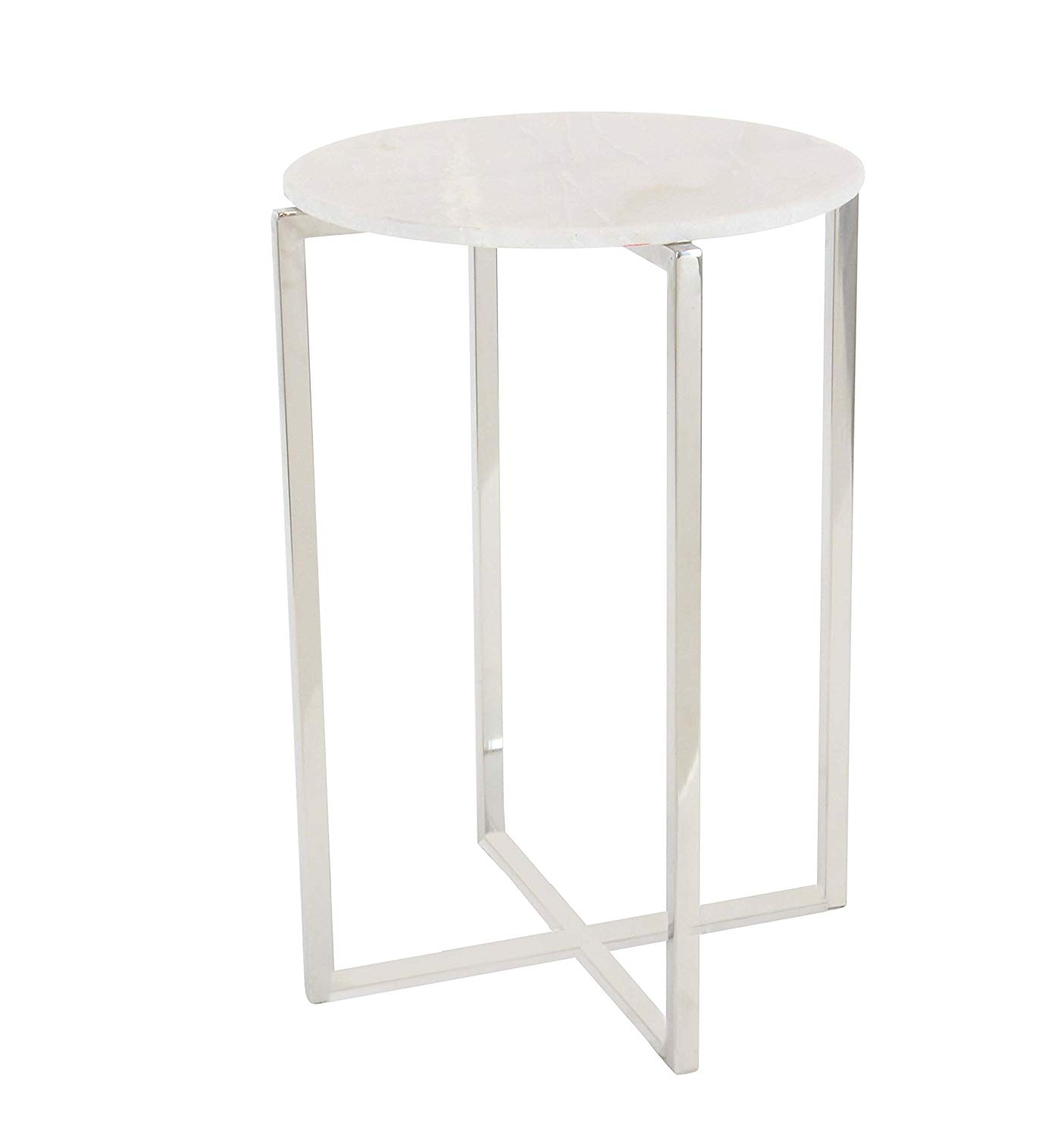 round marble side table find white accent get quotations deco stainless steel and silver cream coffee bunnings swing chair large garden cover cloth folding small bedside lamp