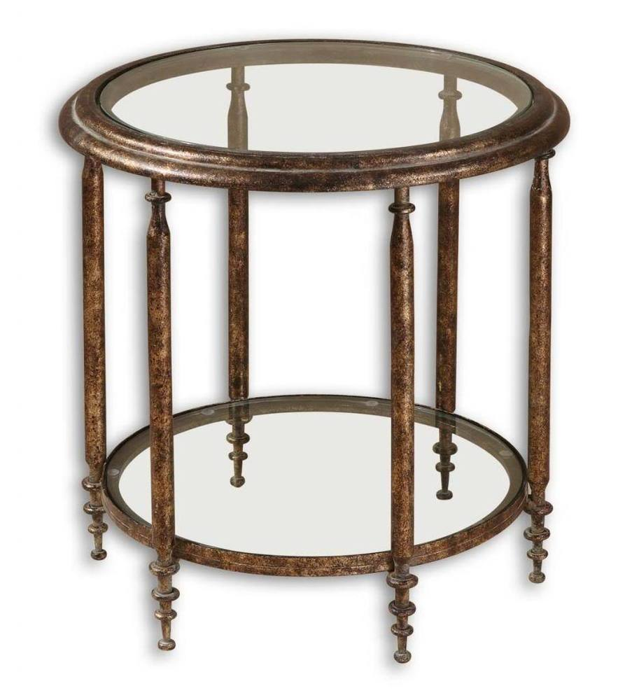 round metal accent table fox hill trading target low luxe antique gold iron distressed green coffee west elm glass lamp black kitchen chairs counter height dining outside lawn
