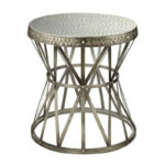 round metal accent table nickel finish with hammer outdoor detailing black side plastic tablecloth rustic furniture patio dining set nautical lighting ideas faux marble carpet 150x150