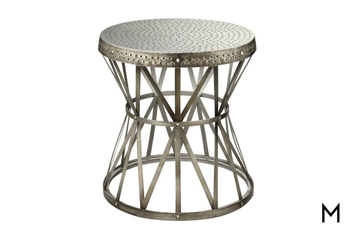 round metal accent table nickel finish with hammer outdoor detailing black side plastic tablecloth rustic furniture patio dining set nautical lighting ideas faux marble carpet