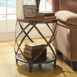 round metal end table silver oak brown wood drum shape contemporary accent side design for drawing room aluminum door threshold cube coffee half moon hammered green tiffany lamps 150x150