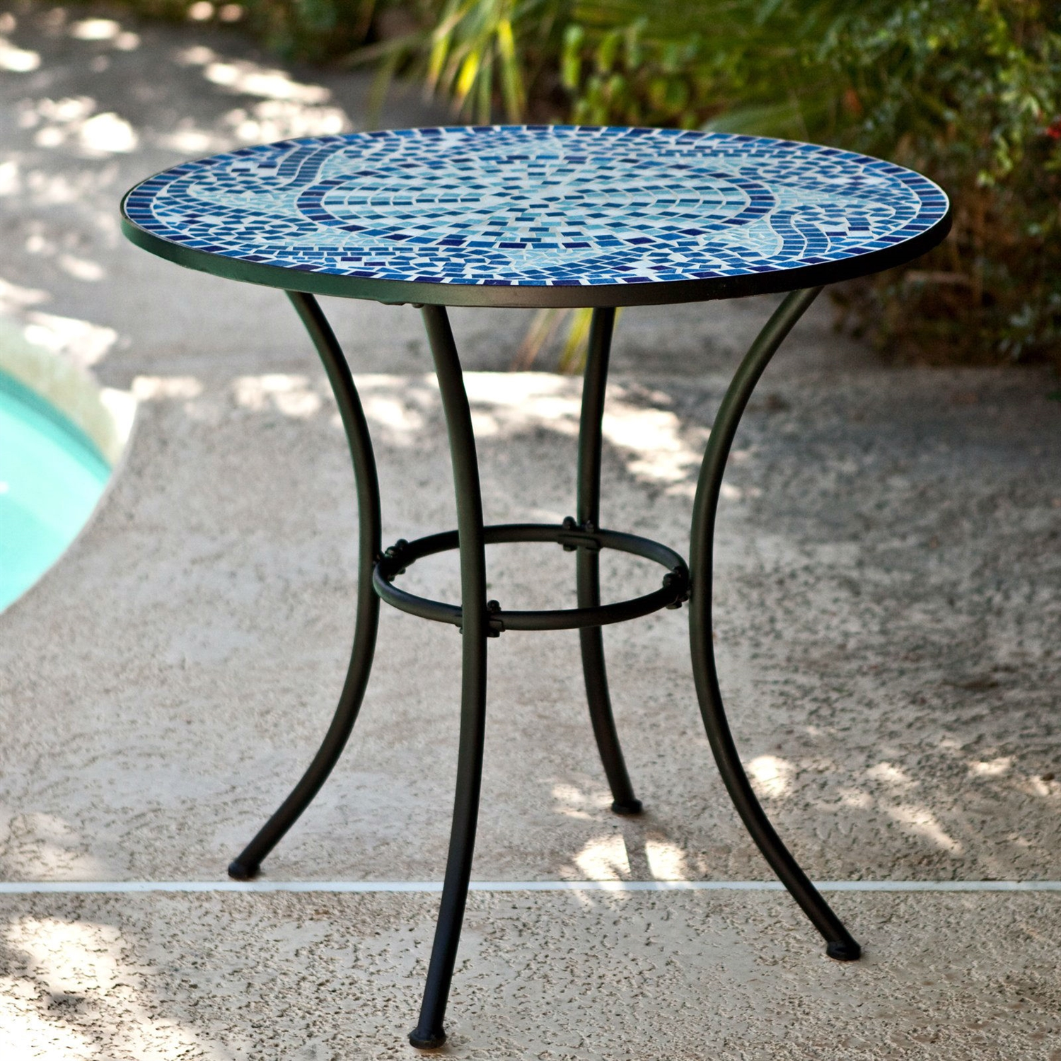 round metal table fathomresearch info new inch outdoor bistro patio with hand laid blue high accent tables large storage chest desk chair target industrial coffee set black end