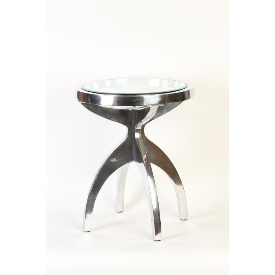 round metal table polished nickel finish with glass top accent living room furniture hairpin end hammered base side oak nest tables threshold nightstand pottery barn reclaimed