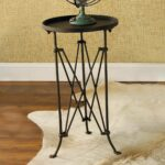 round metal trestle base side table decor small accent use our stone coloured outside summer inside winter oval marble dresser cabinet white wicker outdoor furniture retro modern 150x150