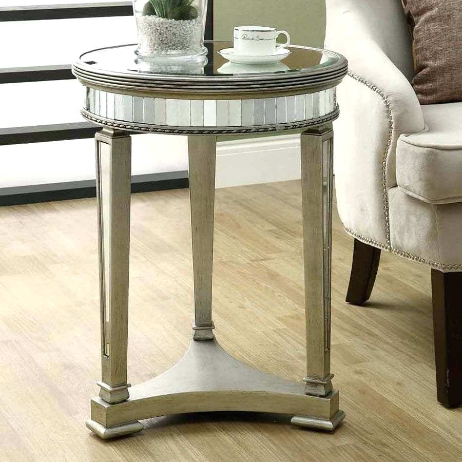 round mirrored accent table monarch specialties glass home goods tables half hall inch fitted vinyl tablecloth amish made furniture farmhouse seats cordless reading floor lamps