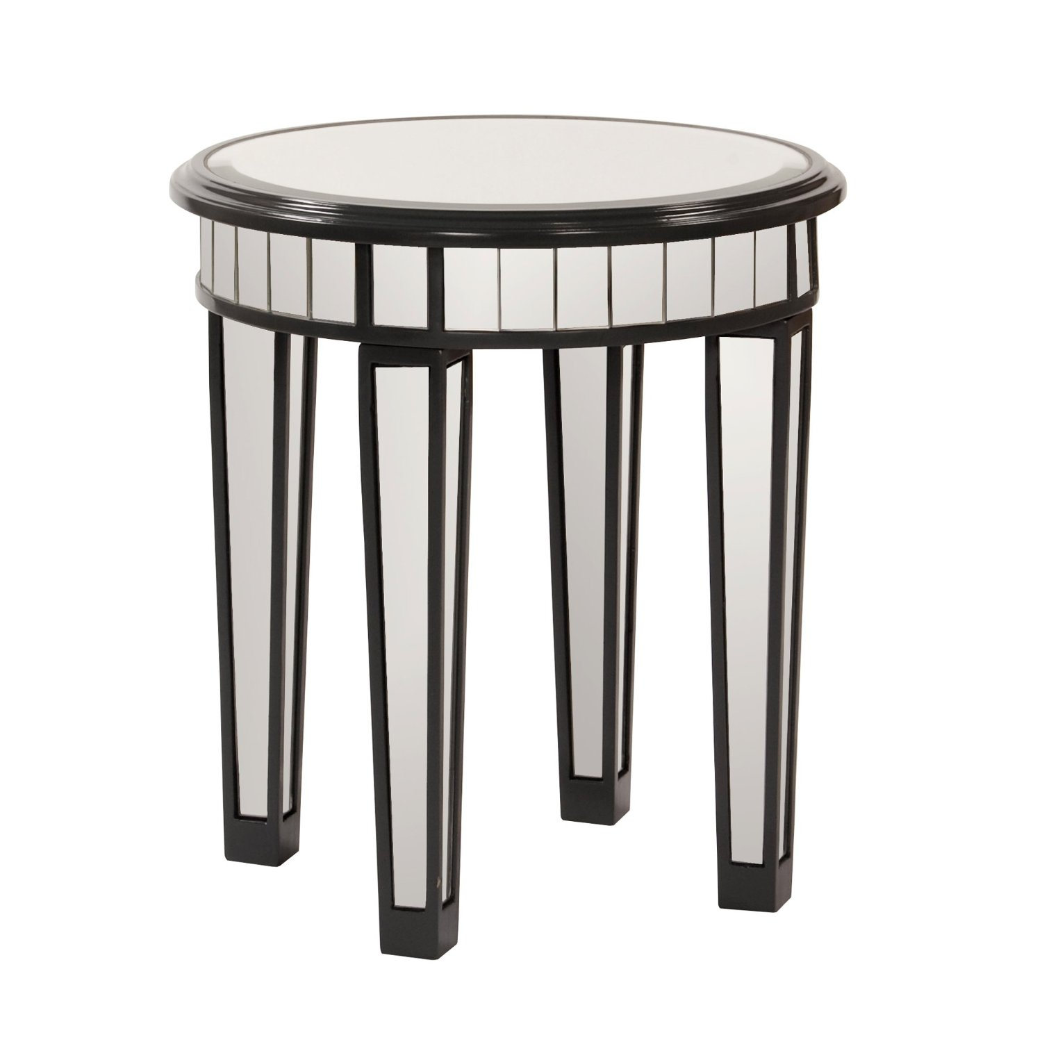 round mirrored accent table with legs and black wooden wood nightstand drawers beach house decor mirror unfinished top imitation furniture ethan allen small gray end tables teton