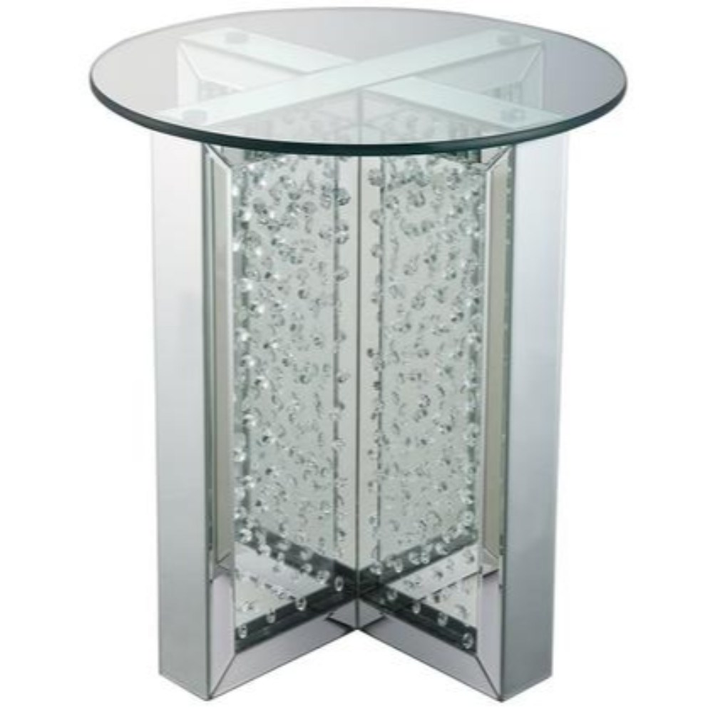 round mirrored metal end table with glass top and crystal accent base silver free shipping today mosaic garden furniture small tables chairs under kitchen sets for pyramid desk