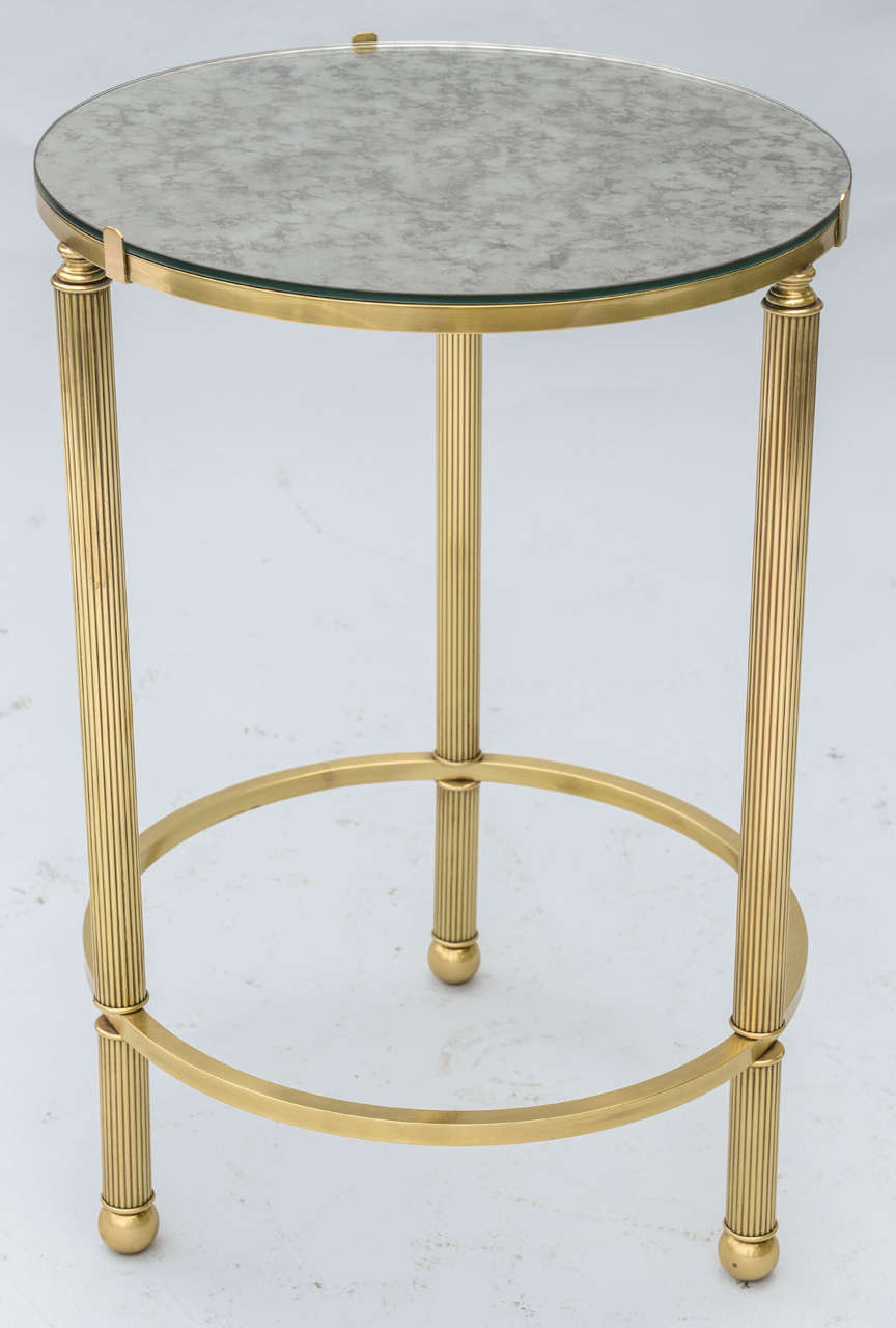 round mirrored side table accent tables coffee brass with top room essentials dishes telesco legs half moon console cabinet pottery barn griffin foldable target cocktail matching